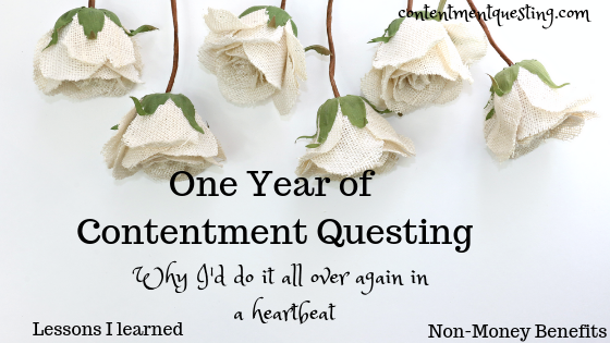 One Year of Blogging, Blog Report, Lessons from One year of blogging, benefits from one year of blogging, blogging, how to blog, start a blog, more than money, contentment questing
